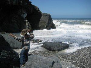 My son near the ocean.